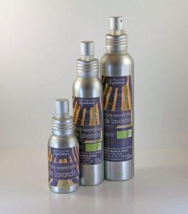huile essentielle de lavandin bouteille aluminium avec vaporisateur
