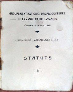 livret du Groupement des Producteurs de lavande en août 1940 à Valensole